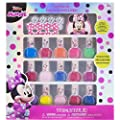 Townley Girl Disney Minnie Mouse Non-Toxic Peel-Off Nail Polish Set for Girls, Glittery and Opaque Colors, Ages 3+