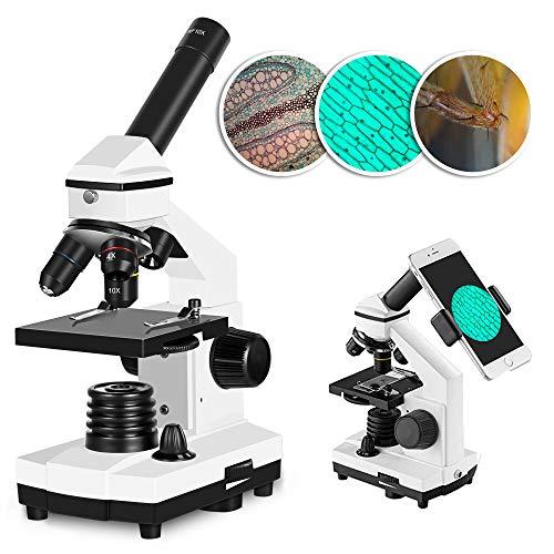 Solomark Mikroskop, 40x - 640x Professionelles monokulares biologisches Verbundmikroskop-Set mit Telefonadapter