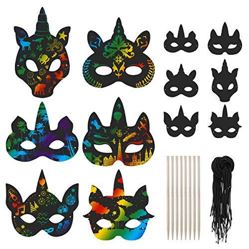 Kesote 24x Kratzbilder Masken Einhorn Kratzpapier Kinder Tiere Regenbogen mit Kratzstifte zum Basteln DIY Zeichnen Malen für Weihnachten Halloween Mitgebsel (6 Motive)