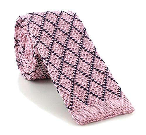 Michelsons of London Rose/Diamant Marine soie tricoté Skinny cravate de