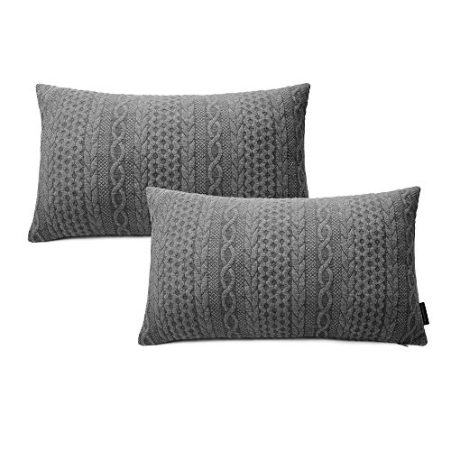 Booque Valley Lumbar Pillow Covers, Pack of 2 Super Soft Elegant 12 x 20 inch Oblong Rectangular Throw Pillow Modern Embossed Patterned Knit Gray Cushions for Sofa Bed Car Chair(Grey)
