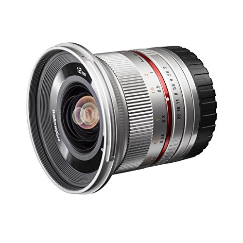 Walimex Pro 12mm 1:2,0 CSC-groothoeklens (hoge lichtsterkte, MC-lenzen en nano-coating, afneembare zonnekap), voor Sony E-Mount, zilver