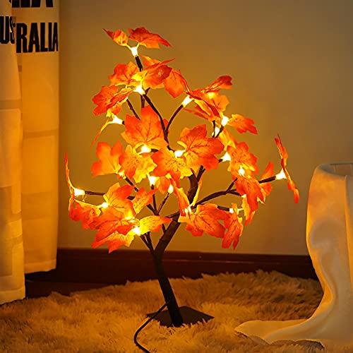 NZXVSE Árbol de arce iluminado con 24 LED, 45 cm de luces artificiales cálidas lámpara de decoración de otoño para interiores y hogares de mesa, otoño, Acción de Gracias decoraciones