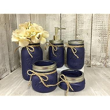Mason Jar Bath Set of 5 | NAVY Rustic Distressed Farmhouse Decor Bathroom Soap Dispenser | Shabby Chic Vanity decor | Burlap Bowtique