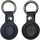 Leather Airtag Case for Apple Airtag,VAYWET Airtag Keychain with Anti-Lost Key Ring,Protective Airtag Holder case Cover,Finder Items for Dogs,Keys,Backpacks,Airtag Accessories(Blue+Black)