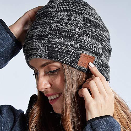 Preisvergleich Produktbild TARTIERY Bluetooth Beanie Mütze Bluetooth 5.0 Wireless Winter Warme Strickmützen Mütze Mit Mikrofon Und HD Lautsprecher Dicke Warme Mütze Winter Outdoor Strickmütze Geschenke Für Männer Frauen