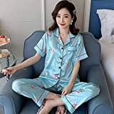 QWKLNRA Pijama Verano Mujer Corto Ropa Loungewear Nuevo Patrón De Cereza De Seda De Manga Corta Pijama Soft Mujeres Verano Otoño Set De Ropa De Dormir para Niñas Conjunto Pijama Plus Tamaño Pij