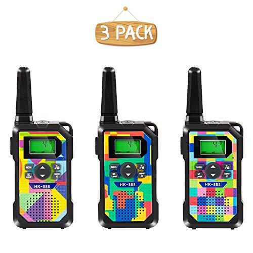 Walkie Talkie Kinder 3er Set,8 Kanäle 3 KM Lange Reichweite Walkie Talkie Spielzeug mit Taschenlampe und Hintergrundbeleuchtetem LCD Bildschirm für Jungen,Mädchen,Outdoor Indoor Aktivität zu spielen