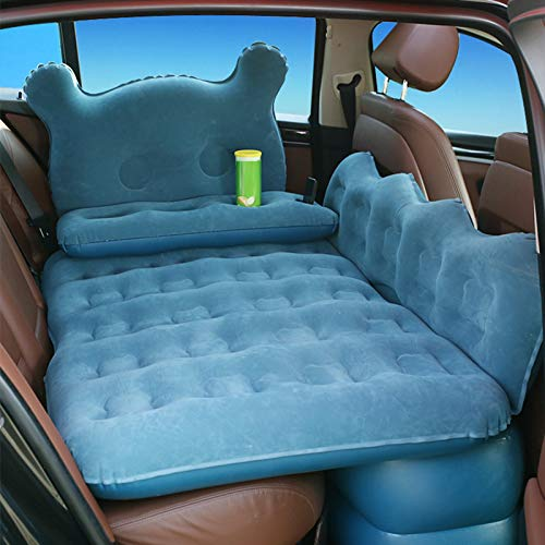 Wakects Cama inflable para coche, asiento trasero, colchón hinchable de coche con bomba, multifuncional plegable, para descansar, dormir, viajes de camping
