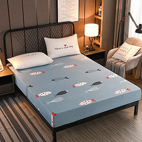 HAIBA Sábana bajera ajustable de algodón peinado, elastano, apto para camas de agua y muelles, secado rápido, 200 x 220 cm + 25 cm