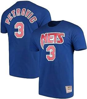 WZ Camiseta De Los Hombres De La Ropa De Baloncesto Brooklyn Nets # 3 Drazen Petrovic Camiseta Camisetas Hombre Negro Ronda Cuello Manga Corta Los Hombres,XXL:180~185cm