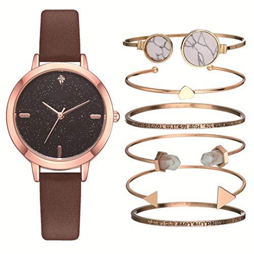 MTRESBRALTS - Reloj de pulsera para mujer, diseño de estrellas, color marrón