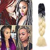 60cm-Extension Treccine Capelli Colorati Afro Capelli Lunghi Braiding Hair Extension Capelli per Treccia Finta–Nero a Biondo Platino