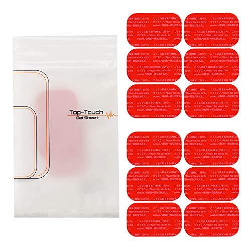【Top-Touch】2セット分 EMS 互換 高電導 ジェルシート 日本製ジェル採用 剥がしやすい切り目入りフィルム 交換パッド プライム発送対応 (3.7 × 6.4cm(腹筋専用)計12枚 2セット分)