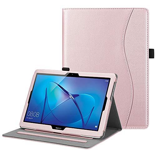FINTIE Funda para Huawei MediaPad T3 10 - [Multiángulo] Folio Carcasa con Bolsillo de Documentos Función de Soporte para Huawei Mediapad T3 10 Tablet 9.6 Pulgadas IPS HD, Oro Rosa