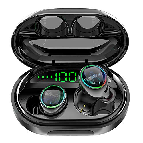 Wireless Earphones C5S, Bluetooth 5.0 in-Ear Headphones True Auto Pairing Earbuds with 140H Playtime, Best Waterproof Sport Wireless Earbuds with 3500mAh Charging Case for iPhone Android Phones