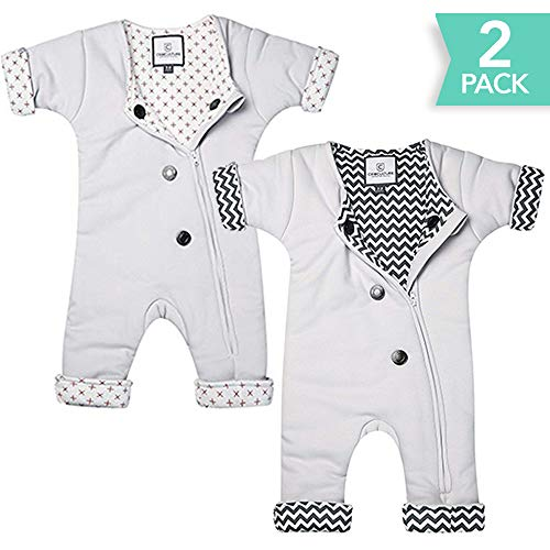 CribCulture 2-Pack Sleepsuit 2-Pack with Adjustable Ventilation for Infants 3-7 Months or 12-21 lbs for Transitioning Your Infant from Swaddling - Soft Sleep Suit Allows Baby to Move