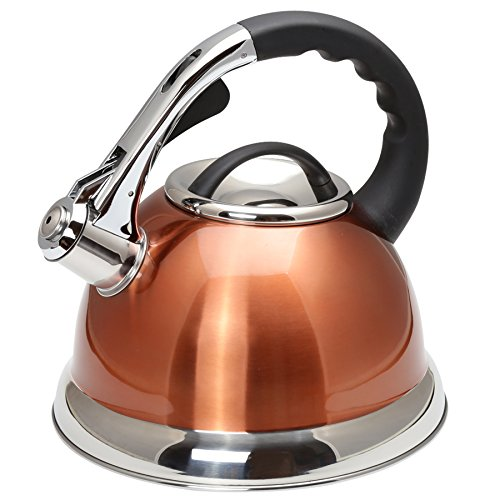 Creative Home Camille Stainless Steel Whistling Tea Kettle with Aluminum Capsulated Bottom for Even Heat Distribution, 3.0 Quart, Metallic Copper Finish