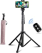 """Aureday 51"""" Selfie Stick Tripod, Portable Adjustable Extendable Phone Tripod Stand with Phone Mount & Wireless Remote, Fits iPhone& Android Phone"""