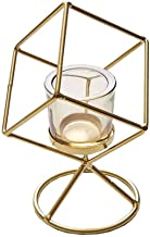 ZLBYB Nordic Geometric Candle Holder, Iron Hollow Tea Light, Used for Vintage Wedding Home Decoration Golden