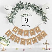 パーティーの装飾 1 セットハッピーバースデーバナー花輪 1-9Th ホワイトバースデーホオジロ最初の誕生日用品ベビーシャワー百日装飾