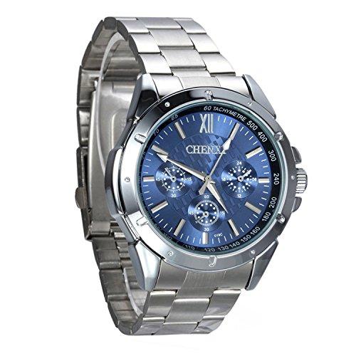 Avaner Reloj para Hombre Caballero Correa de Acero Inoxidable Dial Azul Reloj de Pulsera Plata de Estilo Casual, Dial Giratorio, Reloj Cuarzo Analogico,Regalos Dia del Padre