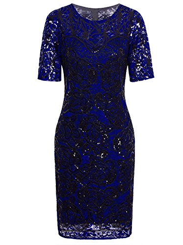 Vijiv Women Vintage Style Lace Beaded Cocktail Dress Sequin Great Gatsby Flapper Dress For Wedding Party With Sleeves,Blue,Large