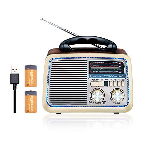 E-books D35 Retro Bluetooth 4.2 Altavoz de Radio inalámbrico FM/Am Vintage Antiguo...