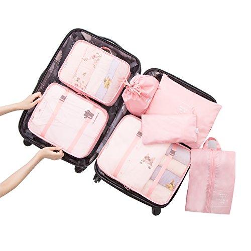 Overmont Kleidertasche Kofferorganizer 7-teiliges Packtasche Set Reisegepäck Organizer für Rucksack Koffer Handgepäck Rosa/Hellblau/Dunkelblau