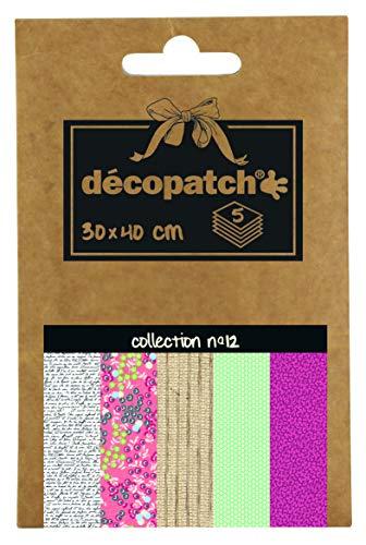 Décopatch DP012O Packung Décopocket mit 5 Papierbogen (30 x 40 cm) (gefaltet, 13 x 9,5 cm, praktisch zum Transportieren und einfach zum Verwenden) 1 Pack farbig sortiert
