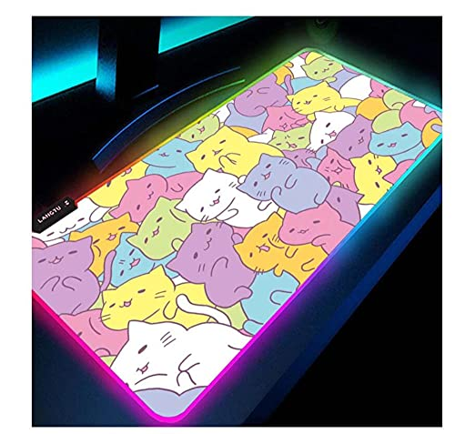 Gaming Mouse Pads RGB Mousepad Cartoon Cat Kawaii Pink Desk Decor Large Extended Keyboard Gaming Accessories Cute LED Mouse Pad Non Slip Waterproof Desk Pad for Pc 23.6X11.8Inch