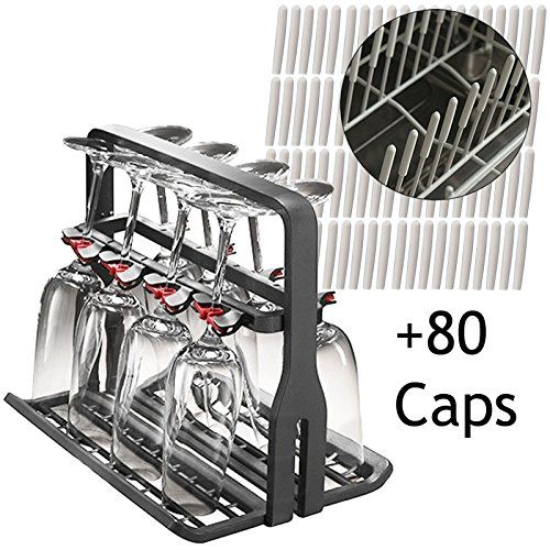 spares2go Universal Wein Glas Rack Ständer + 80Zinken Bezüge Displayschutzfolie Kappen