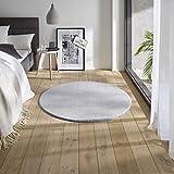 Teppich Wölkchen Waschbarer Teppich mit Anti-Rutsch I Flauschiger Kurzflor für Badezimmer, Kinderzimmer oder Flur Läufer I Einfarbig, Schadstoffgeprüft, Allergikergeeignet | Grau - 120 rund