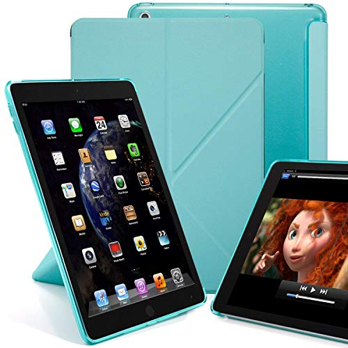 KHOMO Funda Compatible iPad 10.2 (2020, 2019) Tapa Delantera Origami y Carcasa Trasera Semitransparente Carga Apple Pencil 2 - Verde Menta