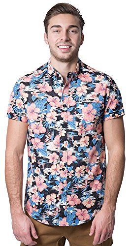 Brooklyn Athletics Men's Hawaiian Aloha Shirt Vintage Casual Button Down Tee, Black/Pink Floral, 2X-Large
