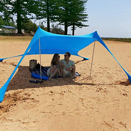 Beach Shade Tent Sun Shelter Family Beach Sunshade UV Protection Portable Sun Shelters Large Lightweight Canopy Beach Tents with Sandbag Anchors 4 Free Pegs for Beach Fishing Camping Garden