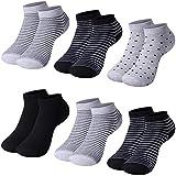 LundK-II 12 Paar Damen Sneaker Socken Mädchen Füßlinge Bambus mit Ringel Punkte Muster 92276 35-38