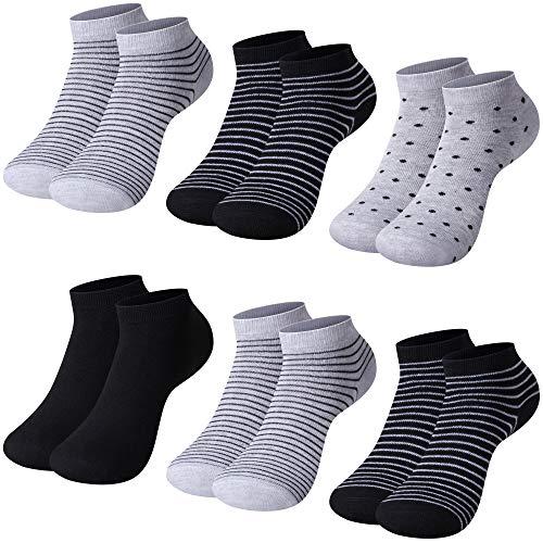 L&K-II 12 Paar Damen Sneaker Socken Mädchen Füßlinge Bambus mit Ringel Punkte Muster 92276 35-38