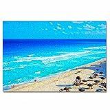 México Cancún Playa Rompecabezas para Adultos, 300 Piezas, Rompecabezas de Madera para niños, Regalo de Viaje, Recuerdo, 16.5 × 12 Pulgadas