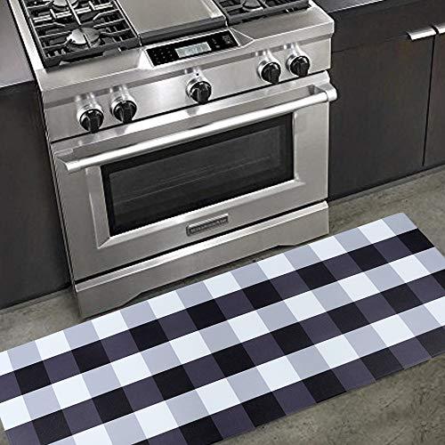 Carvapet Comfort Anti-Fatigue Kitchen Standing Desk Mat Waterproof Decorative Ergonomic Floor Pad Kitchen Rug, Buffalo Check Plaid 18'x47'