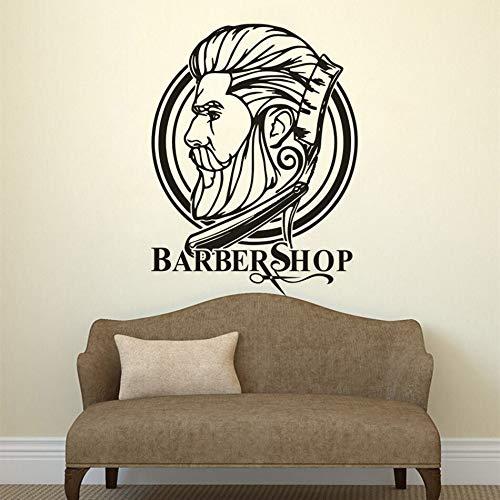 YuanMinglu Herren Haarschnitt Wand Logo Schöne Herren Vinyl Wand Friseur Haarstudio Dekoration 50.4 cm x 67.2 cm