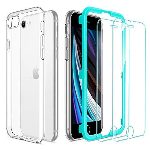ESR Funda TPU Compatible con iPhone SE 2020 8 7 4.7   con 2 Protector de Pantalla, Carcasa Anti-Choques y Anti- Arañazos, Funda Silicona HD Clara, Transparente