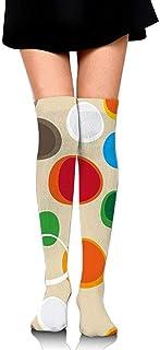 DAWN&ROSE, DAWN & ROSE calcetines altos con estampado geométrico colorido de burbujas casuales a la rodilla