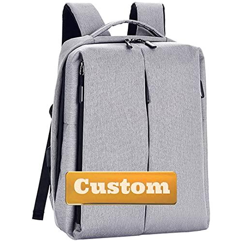 FireH Nome personalizzato leggero per uomo Laptop College Zaino Donne 17 Computer scolastico (Color : Grey, Size : One size)