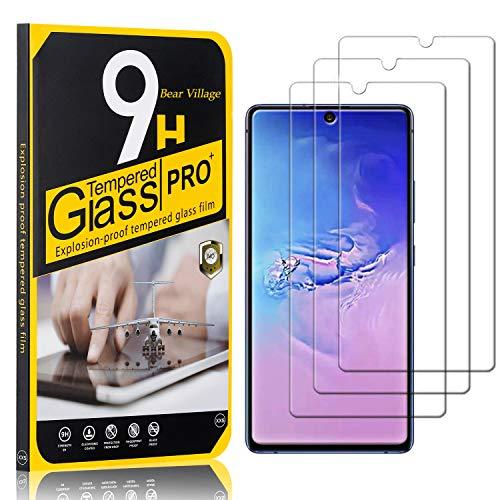Bear Village Displayschutzfolie für Galaxy S10 Lite, 9H Härte, Anti Kratzen, Anti Öl, 99% Transparenz Schutzfolie aus Gehärtetem Glas für Samsung Galaxy S10 Lite, 3 Stück
