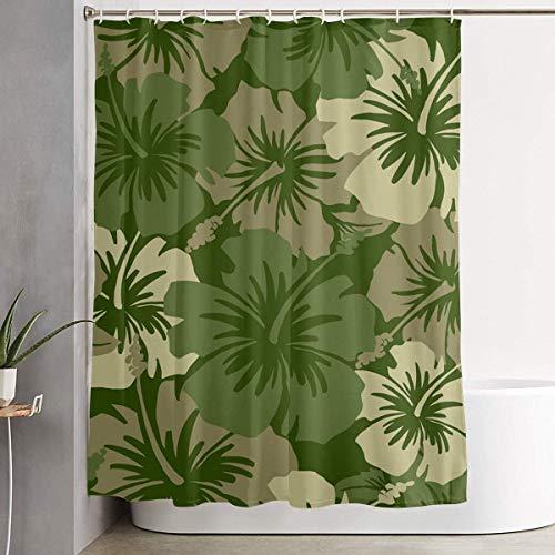 Upgrade Hawaiian Floral Olivgrün Duschvorhang mit 12 Kunststoffhaken Robustes wasserdichtes Gewebe - Maschinenwaschbares Badezimmer Wohnheim,