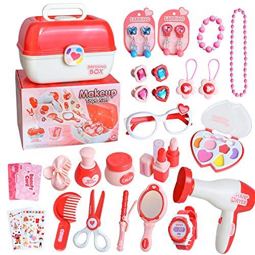 Belleza - Juego de cosméticos y joyas, caja de princesa, kit para vestir el cabello, estuche de 30 piezas, pretend Play, juguete educativo de cumpleaños, ideal para Navidad o regalo para niños