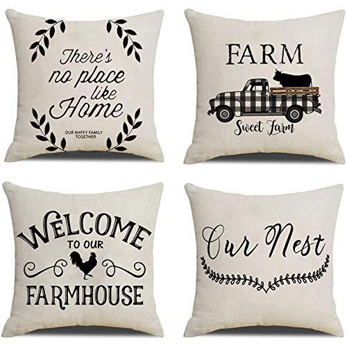 Camisin Farmhouse - Set di 4 federe per cuscini in lino rustico, per divano letto, 18 x 18 cm