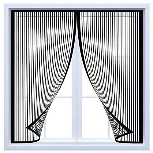 Mosquitera Ventana Magnetica, Mosquitera MagnéTica Para Puertas Cortina, Pegajoso Cortina No Requiere PerforacióN Pantalla contra Insectos, para balcón sala estar patio (Negro)