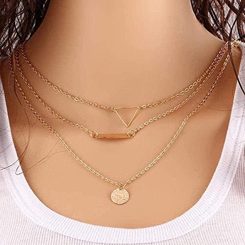 ZHIFUBA Co.,Ltd Collar de Moda Collar Collar Cool Hollow out Triangle Collar de múltiples Capas Monedas Elegantes Collares Pendientes para Mujeres Joyas largas sin Cuello